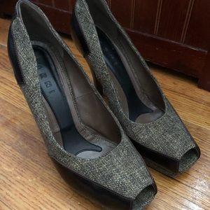 MARNI Tweed Leather &Wood Pumps High Heel Shoes 39